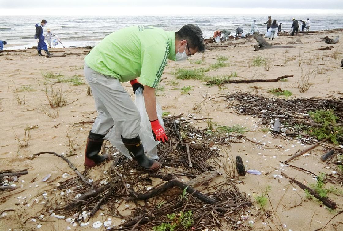 海岸清掃ボランティア活動の様子